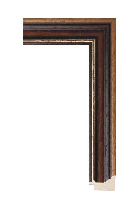 Houten lijst - BOSTON - Bruin met goud 36 mm breed