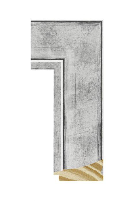 Houten lijst - CORONA - Zilver 69 mm breed