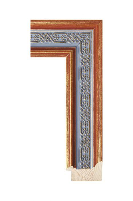 Houten lijst - ICON - Blauw goud - ornament 54 mm breed