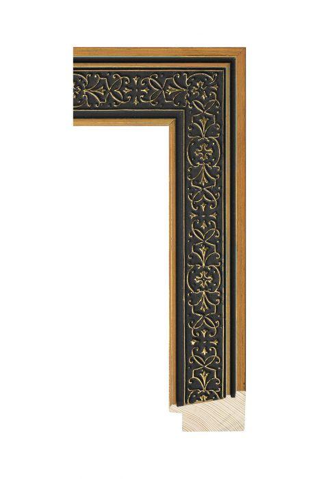 Houten lijst - ICON - Zwart goud - ornament 48 mm breed
