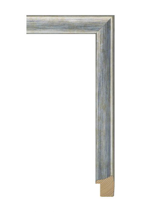 Houten lijst - JOY - Blauw op zilver 30 mm breed