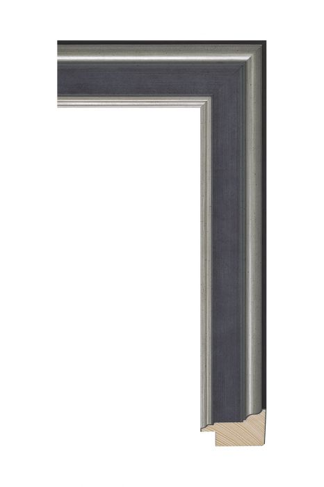 Houten lijst - MAESTRO - Antiek zilver blauw 45 mm breed -