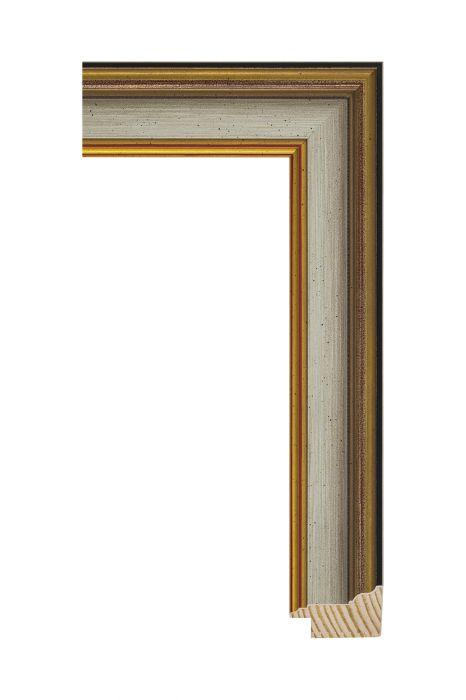 Houten lijst - MAESTRO - Bruin met goud 45 mm breed