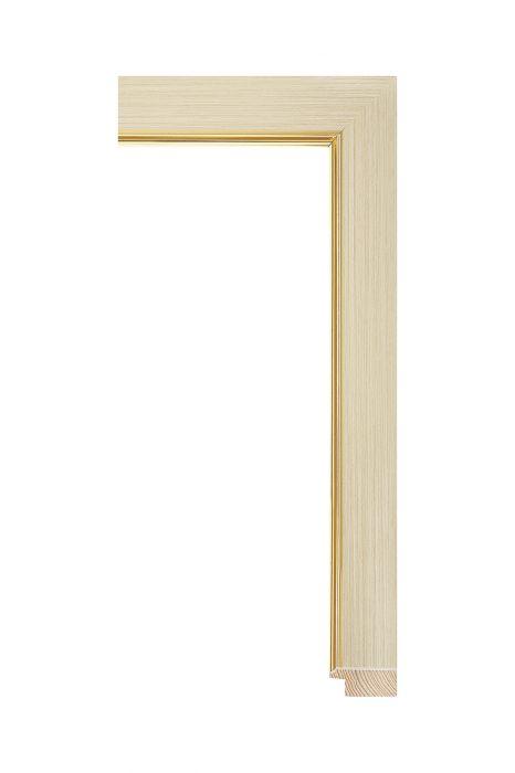 Houten lijst - MAGNOLIA - Natuur met goud 32 mm breed