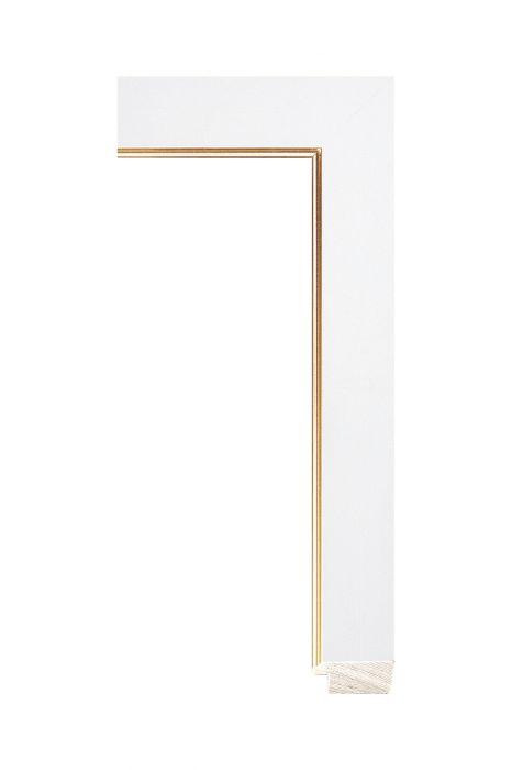 Houten lijst - MAGNOLIA - Wit met goud 31 mm breed