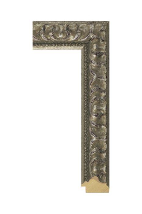 Houten lijst - MEDICI - Zilver, versierd 48 mm breed