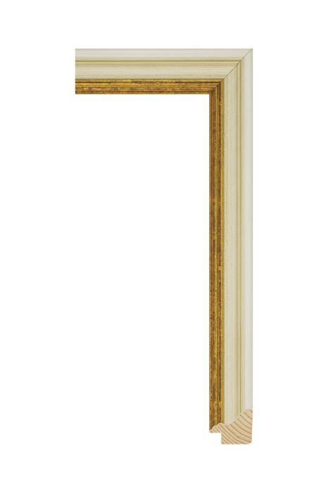 Houten lijst - METRO - Antiekwit met goud 30 mm breed