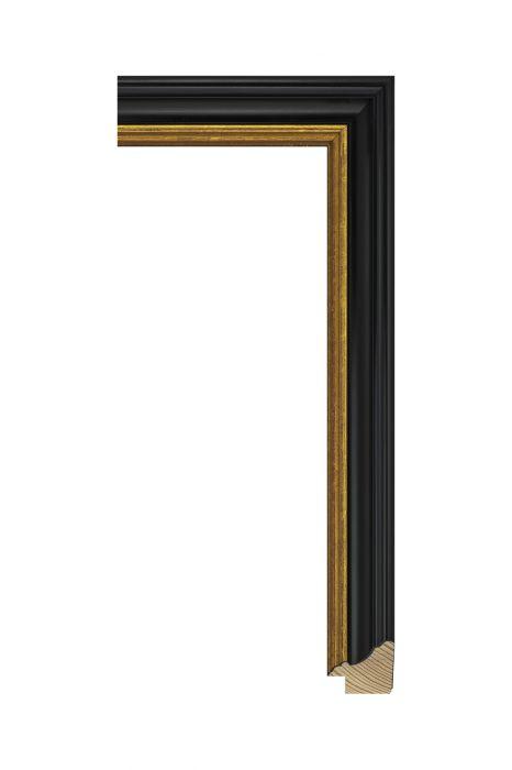 Houten lijst - METRO - Antiekzwart met goud 30 mm breed