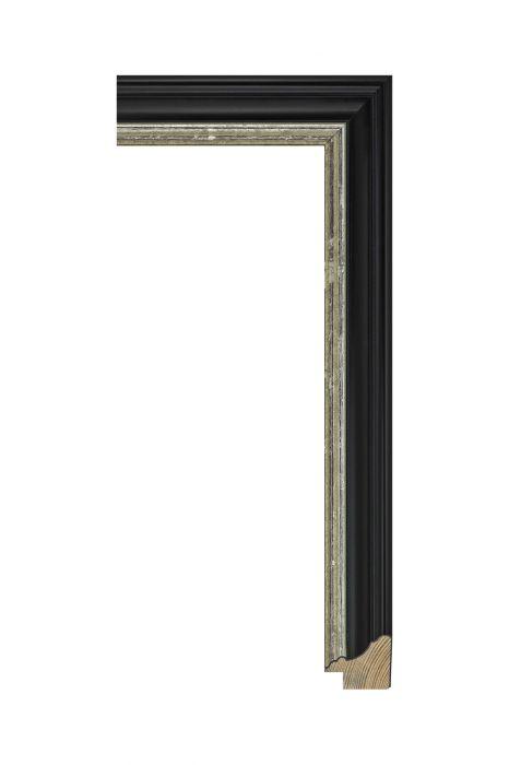 Houten lijst - METRO - Antiekzwart met zilver 30 mm breed