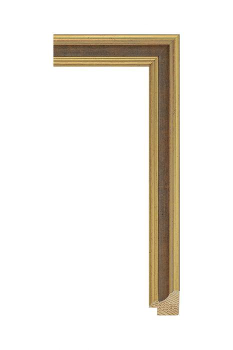 Houten lijst - METRO - Bruin met goud 30 mm breed