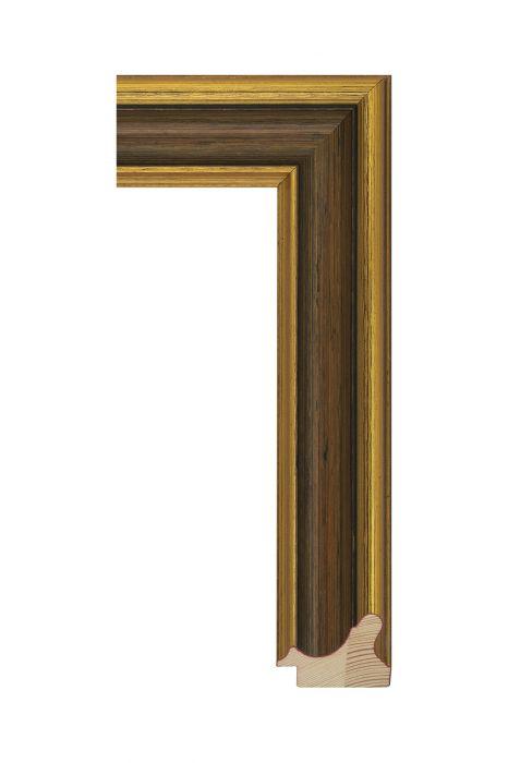Houten lijst - MUSEO - Antiekgoud met bruin 54 mm breed