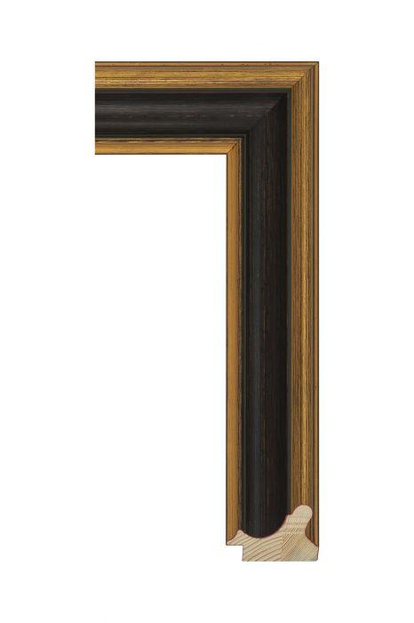 Houten lijst - MUSEO - Antiekgoud met rood 54 mm breed