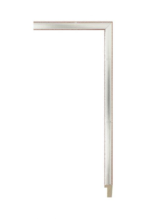 Houten lijst - PLUS - Zilver met wit 13 mm breed