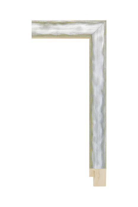 Houten lijst - QUADRA - Zilver op geel 30 mm breed