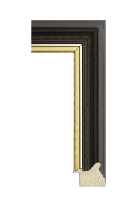 Houten lijst - RUSTICA - Zwart/bruin met goud 45 mm breed -
