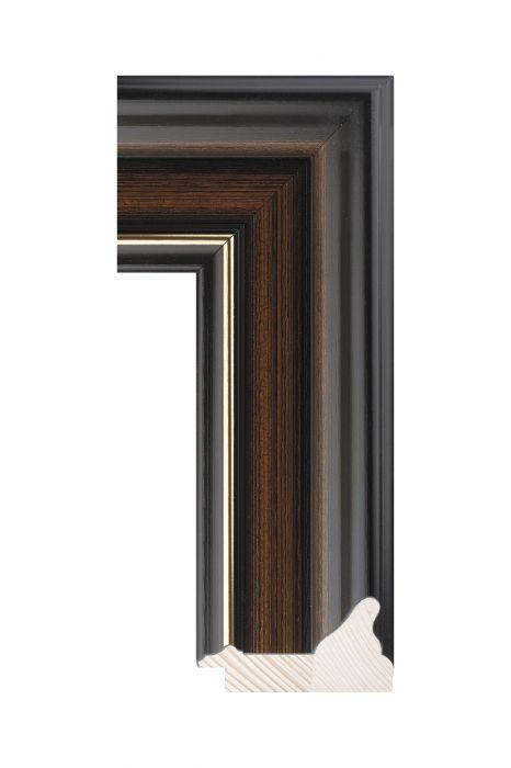 Houten lijst - RUSTICA - Zwart/bruin met goud 74 mm breed